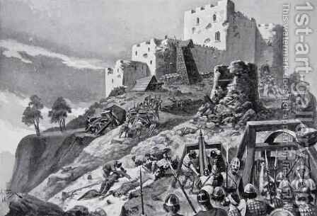 The Welsh attack on Montgomery Castle in 1095 led by Cadwgan ap Bleddyn, Prince of Powys, illustration from the book The History of the Nation by Alfred Pearse - Reproduction Oil Painting