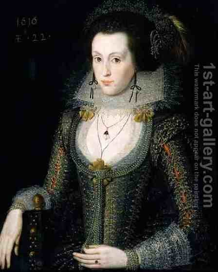 Elizabeth Poulett, 1616 by (attr. to) Peake, Robert - Reproduction Oil Painting