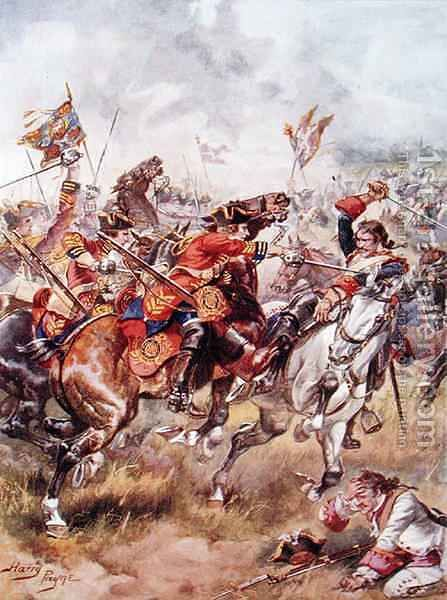 Charge of the Third Dragoons, illustration from Glorious Battles of English History by Major C.H. Wylly, 1920s by Henry A. (Harry) Payne - Reproduction Oil Painting