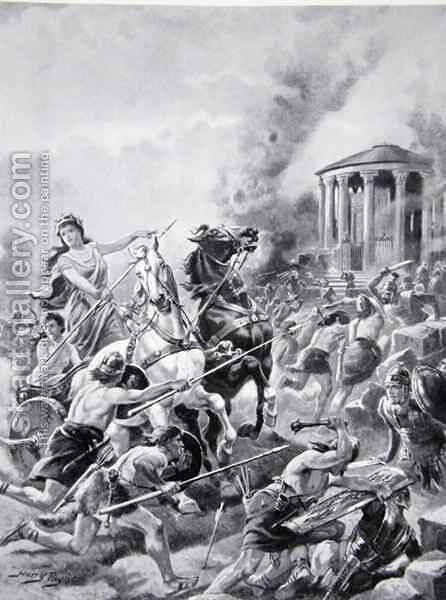 Boadiceas attack upon Camulodunum, 60AD, illustration from The History of the Nation 2 by Henry A. (Harry) Payne - Reproduction Oil Painting
