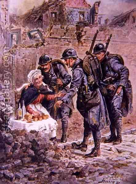 An Old Woman Selling Cakes Amid the Falling Houses of Verdun, illustration from Brave Deeds by Brave Men by C. Sheridan Jones, pub. 1922 by Henry A. (Harry) Payne - Reproduction Oil Painting