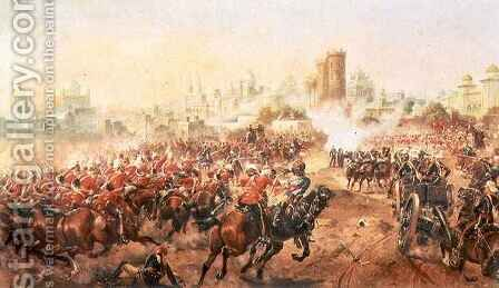 Charge of the Queens Bays against the Mutineers at Lucknow, 6th March 1858 by Henry A. (Harry) Payne - Reproduction Oil Painting