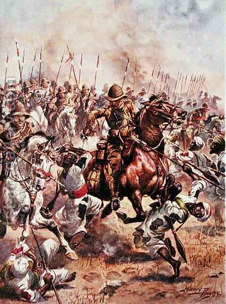 Charge of the Twenty-First Lancers, illustration from Glorious Battles of English History by Major C.H. Wylly, 1920s by Henry A. (Harry) Payne - Reproduction Oil Painting