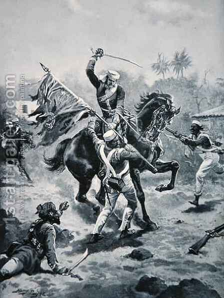 Lt Roberts winning his V.C., January 2nd 1858, illustration from The History of the Nation by Henry A. (Harry) Payne - Reproduction Oil Painting