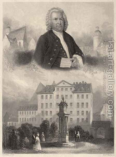 Portrait of Johann Sebastian Bach, Bachs Monument and St. Thomas Church and School in Leipzig, c. 1860 by Albert Henry Payne - Reproduction Oil Painting