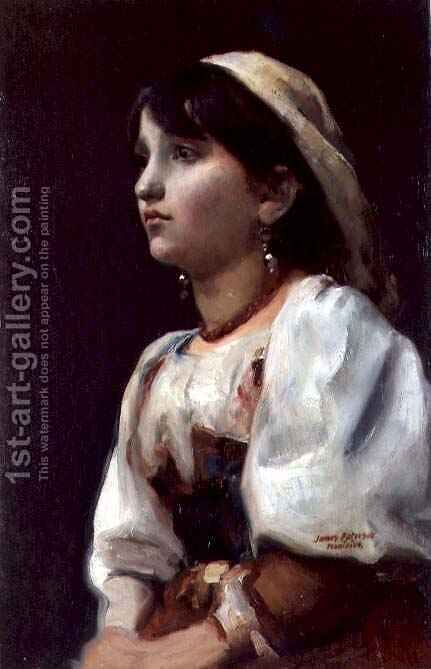 Italian Girl, c.1890 by James Paterson - Reproduction Oil Painting