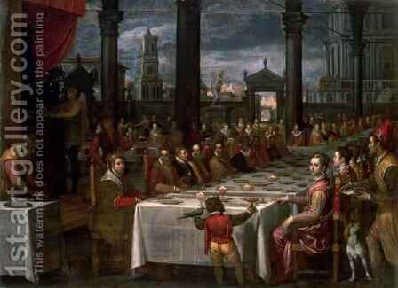 Wedding banquet of Grand Duke Ferdinand I of Tuscany 1549-1600, 1590 by Domenico Cresti  (see Passignano) - Reproduction Oil Painting