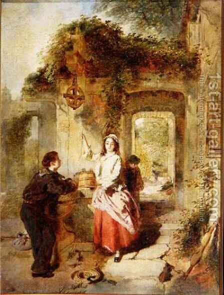 Courting at the Well, 1862 by Daniel Pasmore - Reproduction Oil Painting