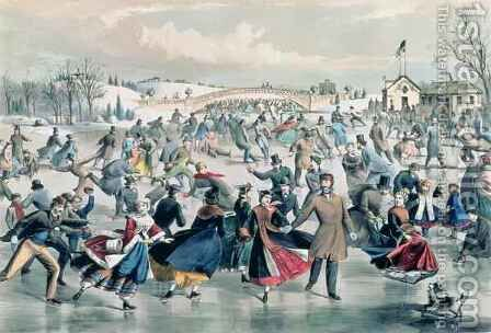 The Skating Pond, pub. by Currier and Ives, New York, 1862 by Charles Parsons - Reproduction Oil Painting