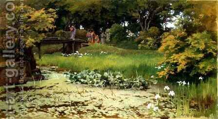 Pond in the Garden of Raku-Raku-Tei, Hikone by Alfred Parsons - Reproduction Oil Painting