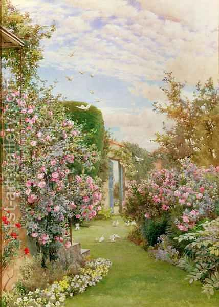 China Roses, Broadway by Alfred Parsons - Reproduction Oil Painting