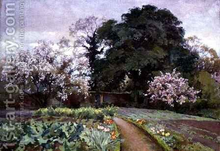 A Kitchen Garden, Frome, Somerset by Alfred Parsons - Reproduction Oil Painting