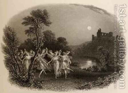 The Dance of the Fairies, engraved by F.C. Lewis, illustration from The Pilgrims of the Rhine published 1840 by Edmund Thomas Parris - Reproduction Oil Painting