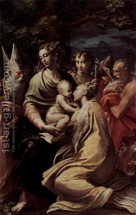 Madonna and Child with Saints, c.1529 2 by Girolamo Francesco Maria Mazzola (Parmigianino) - Reproduction Oil Painting