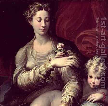 Madonna of the Rose, 1528-30 2 by Girolamo Francesco Maria Mazzola (Parmigianino) - Reproduction Oil Painting