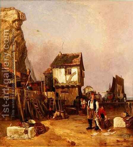 Fisherfolk with their catch by a quay by Henry Perlee Parker - Reproduction Oil Painting