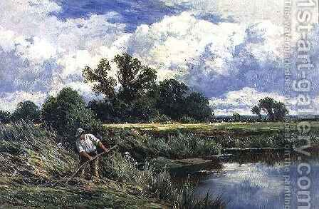 The River Lea, near Broxbourne in Hertfordshire by Henry Hillier Parker - Reproduction Oil Painting