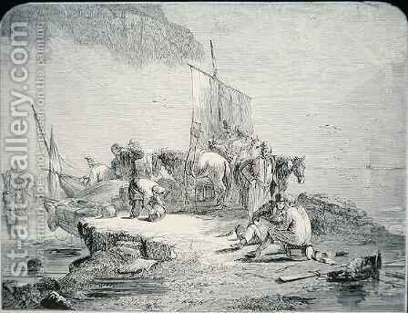 Smugglers landing their cargo, 1850 by (after) Parker, H.R. - Reproduction Oil Painting