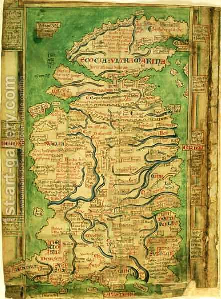 Cotton Claudius DVI, f.12v One of the earliest detailed maps of Great Britain extant, by Matthew Paris, c.1250 by Matthew Paris - Reproduction Oil Painting