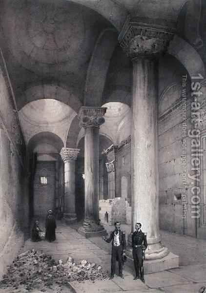 Interior of the Golden Gate in Jerusalem, illustration from Souvenirs de Jerusalem by Contre-Amiral Paris, engraved by Hubert Clerget 1818-99 and Jules Gaildrau 1816-98 by (after) Paris - Reproduction Oil Painting
