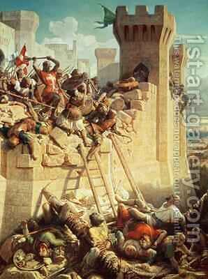 Guillaume de Clermont defending Ptolemais Acre in 1291, 1845 by Dominique Louis Papety - Reproduction Oil Painting