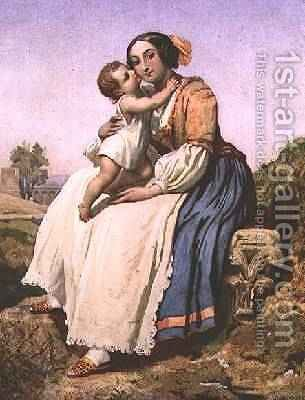 An Italian Peasant Woman and Child, c.1836-41 by Dominique Louis Papety - Reproduction Oil Painting