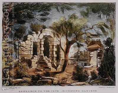 Entrance to the Cave, Richmond Gardens, plate 18 from 'Kew Gardens: A Series of Twenty-Four Drawings on Stone, engraved by Charles Hullmandel 1789-1850 published 1820 by (after) Papendiek, George Ernest - Reproduction Oil Painting