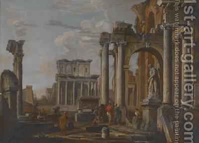 Ruins with the Temple of Antonius and Faustina, c.1727-30 by Giovanni Paolo Panini - Reproduction Oil Painting