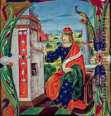 Historiated initial A depicting King Solomon, Lombardy School, c.1499-1511 by Alessandro Pampurino - Reproduction Oil Painting
