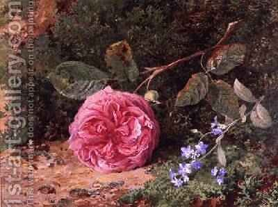 Pink Rose on a Mossy Bank, 1875 by Harry Sutton Palmer - Reproduction Oil Painting