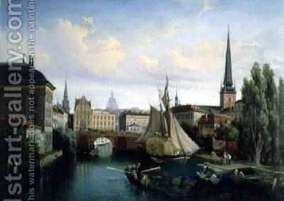 View of the Riddarholmskanalen, Stockholm in 1835, 1880 by Gustaf-Wilhelm Palm - Reproduction Oil Painting