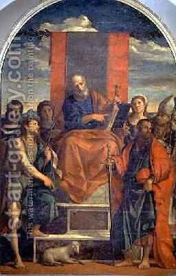 St. Peter Enthroned with Saints by Jacopo d'Antonio Negretti (see Palma Vecchio) - Reproduction Oil Painting