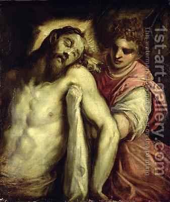 The Entombment by Jacopo d'Antonio Negretti (see Palma Vecchio) - Reproduction Oil Painting