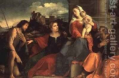 Madonna and Child with St. John the Baptist and Saints, 1530 by Jacopo d'Antonio Negretti (see Palma Vecchio) - Reproduction Oil Painting