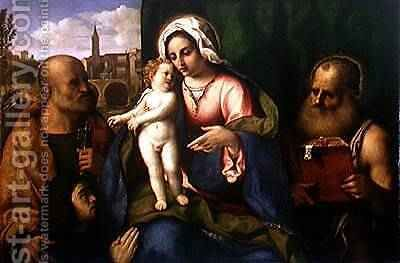 Virgin and Child with St. Peter, St. Jerome and a Donor by Jacopo d'Antonio Negretti (see Palma Vecchio) - Reproduction Oil Painting