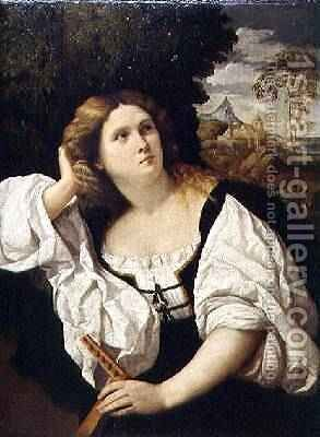 Lady with a Lute, c.1520-25 by Jacopo d'Antonio Negretti (see Palma Vecchio) - Reproduction Oil Painting