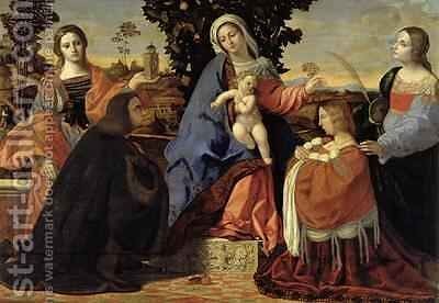 Sacred Conversation with Saints Barbara and Justina by Jacopo d'Antonio Negretti (see Palma Vecchio) - Reproduction Oil Painting