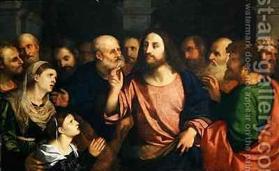 Christ and the Woman of Canaan by Jacopo d'Antonio Negretti (see Palma Vecchio) - Reproduction Oil Painting