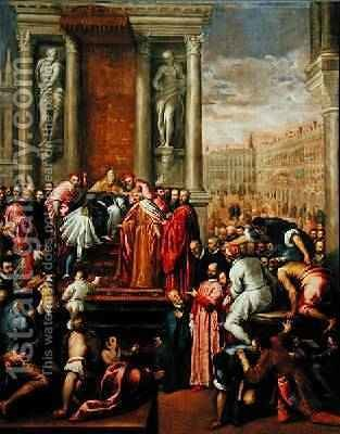 Pope Alexander III 1105-81 and Doge Sebastiano Ziani c.1102-80 Send the Young Ottone to Frederick Barbarossa c.1123-90 by Jacopo d'Antonio Negretti (see Palma Giovane) - Reproduction Oil Painting