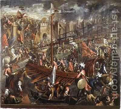 The Taking of Constantinople by Jacopo d'Antonio Negretti (see Palma Giovane) - Reproduction Oil Painting