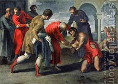 Return of the Prodigal Son by Jacopo d'Antonio Negretti (see Palma Giovane) - Reproduction Oil Painting