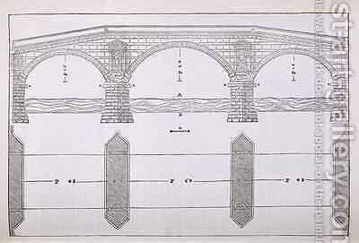 Elevation of a bridge, illustration from a facsimile copy of I Quattro Libri dell'Architettura written by Palladio, originally published 1570 by (after) Palladio, Andrea - Reproduction Oil Painting