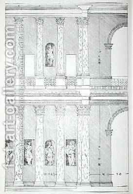Roman Piazza, illustration from a facsimile copy of I Quattro Libri dell'Architettura written by Palladio, originally published 1570 by (after) Palladio, Andrea - Reproduction Oil Painting
