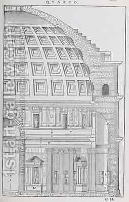 Cross section of the Pantheon, illustration from a facsimile copy of I Quattro Libri dellArchitettura written by Palladio, originally published 1570 by (after) Palladio, Andrea - Reproduction Oil Painting