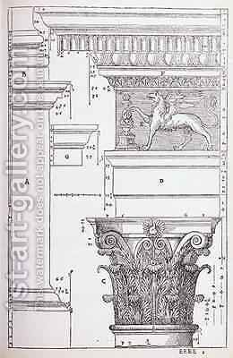 Decorative details from the Temple of Antoninus and Faustina, illustration from a facsimile copy of I Quattro Libri dellArchitettura written by Palladio, originally published 1570 by (after) Palladio, Andrea - Reproduction Oil Painting