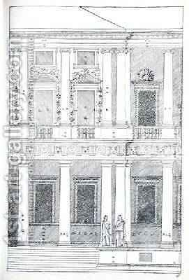 Elevation of Villa Chiericati, Vicenza, illustration from a facsimile copy of I Quattro Libri dellArchitettura written by Palladio, originally published 1570 by (after) Palladio, Andrea - Reproduction Oil Painting