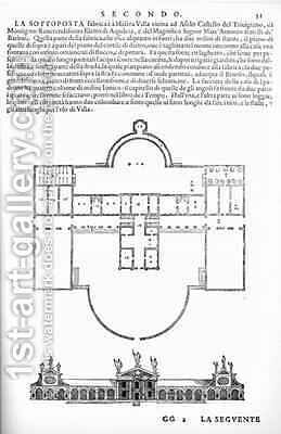 Plan and elevation of Villa Barbaro, Maser, illustration from a facsimile copy of I Quattro Libri dellArchitettura written by Palladio, originally published 1570 by (after) Palladio, Andrea - Reproduction Oil Painting