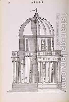 Elevation and Cross Section of the Temple of Jupiter Stator, illustration from a facsimile copy of I Quattro Libri dellArchitettura written by Palladio, originally published 1570 by (after) Palladio, Andrea - Reproduction Oil Painting