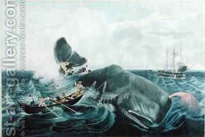 Capturing a Sperm Whale, engraved by J. Hill, published 1835 by (after) Page, William - Reproduction Oil Painting