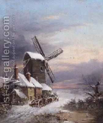 A windmill in winter, 1876 by Henry Maurice Page - Reproduction Oil Painting